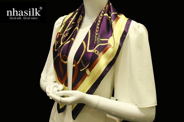 khăn lụa nhasilk đương đại tím
