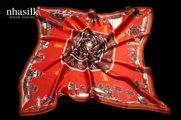 khăn lụa trống đồng đỏ