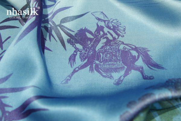 khăn lụa lá trúc xanh dương