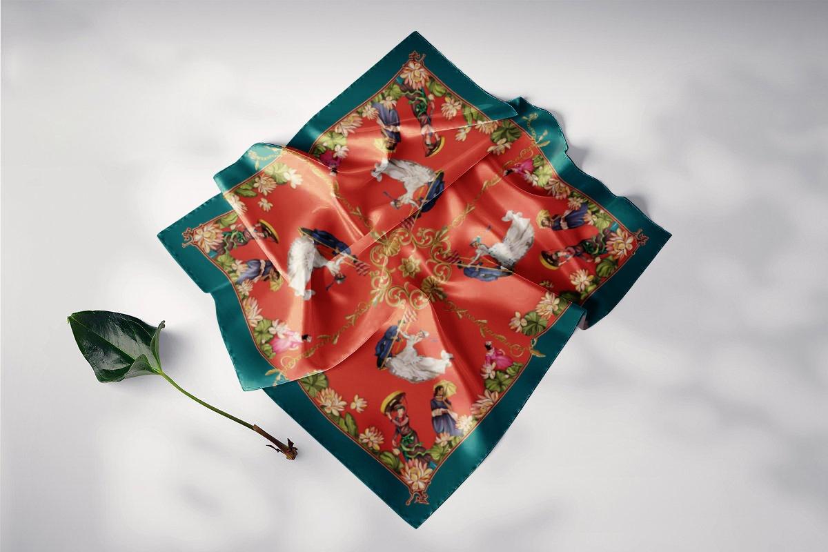 khăn lụa vuông lễ hội đu tiên