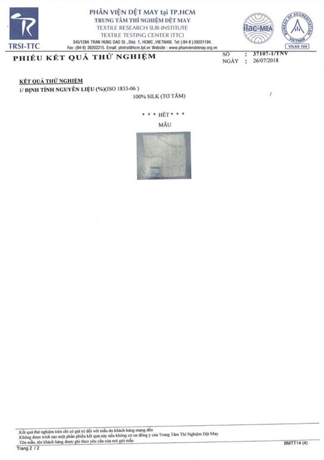 giấy chứng nhận kiểm định lụa
