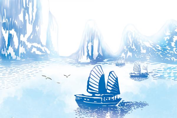 khăn lụa dài vịnh hạ long xanh