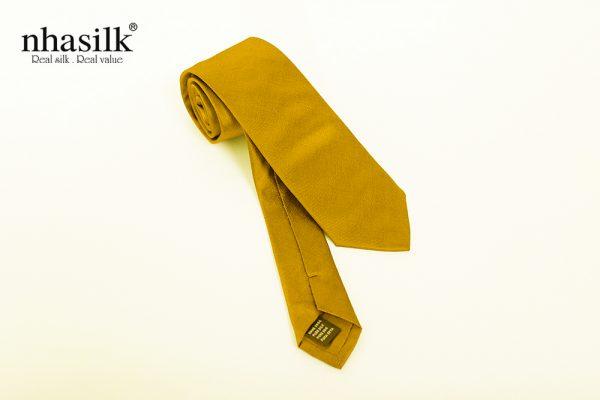 Cà vạt lụa tơ tằm trơn vàng | Nhasilk