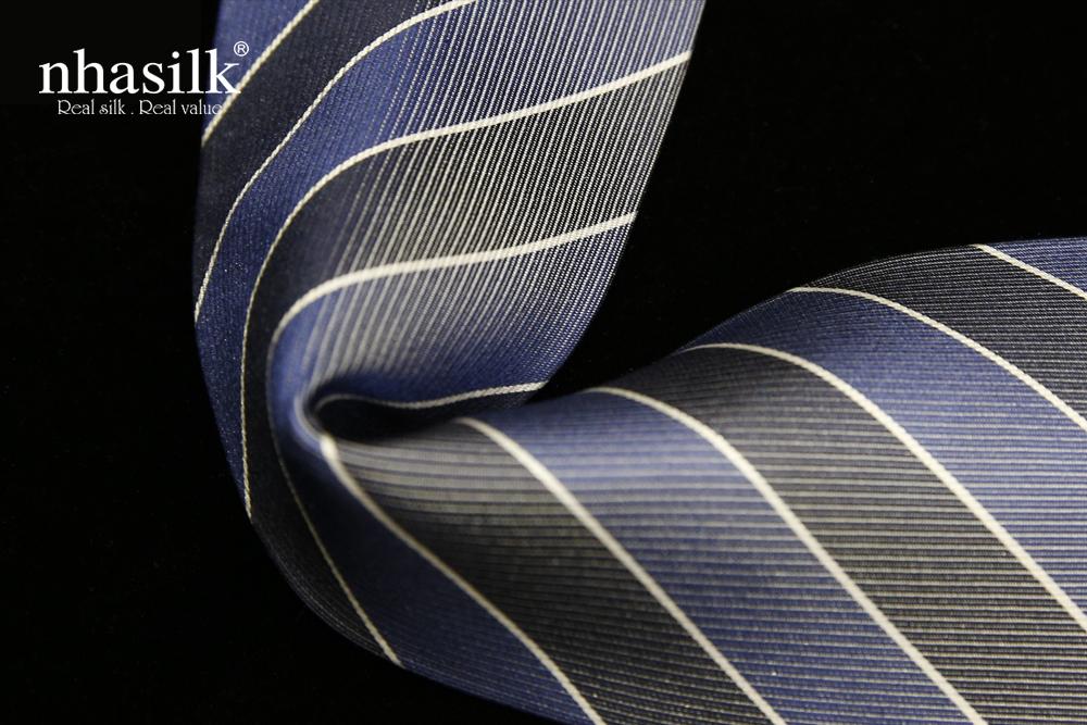 Cà vạt lụa tơ tằm sọc xám xanh | Nhasilk