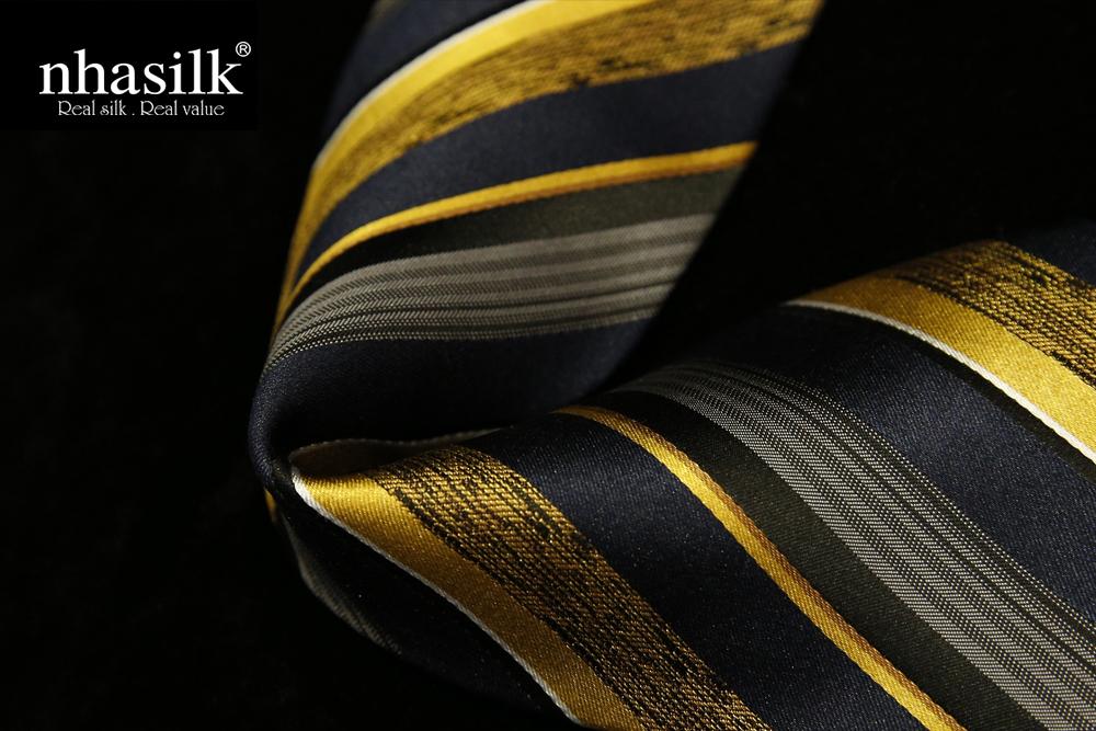 Cà vạt lụa tơ tằm sọc vàng xám và đen | Nhasilk
