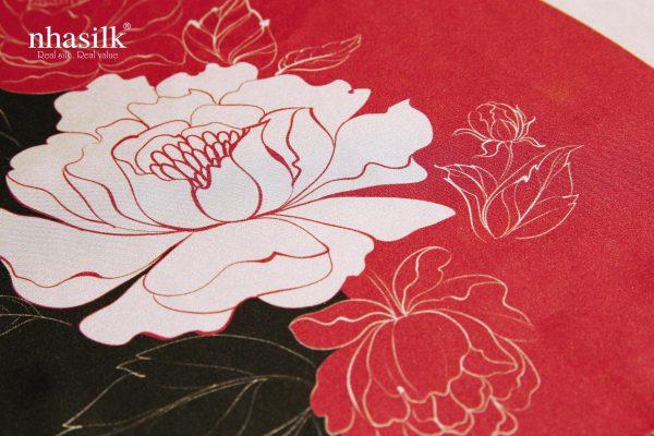 khăn lụa hoa mẫu đơn sọc dọc