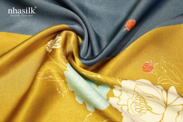 khăn lụa đơn xanh vàng