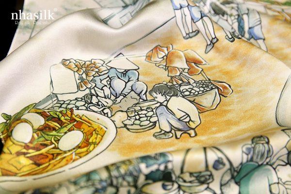 khăn lụa ẩm thực sài gòn