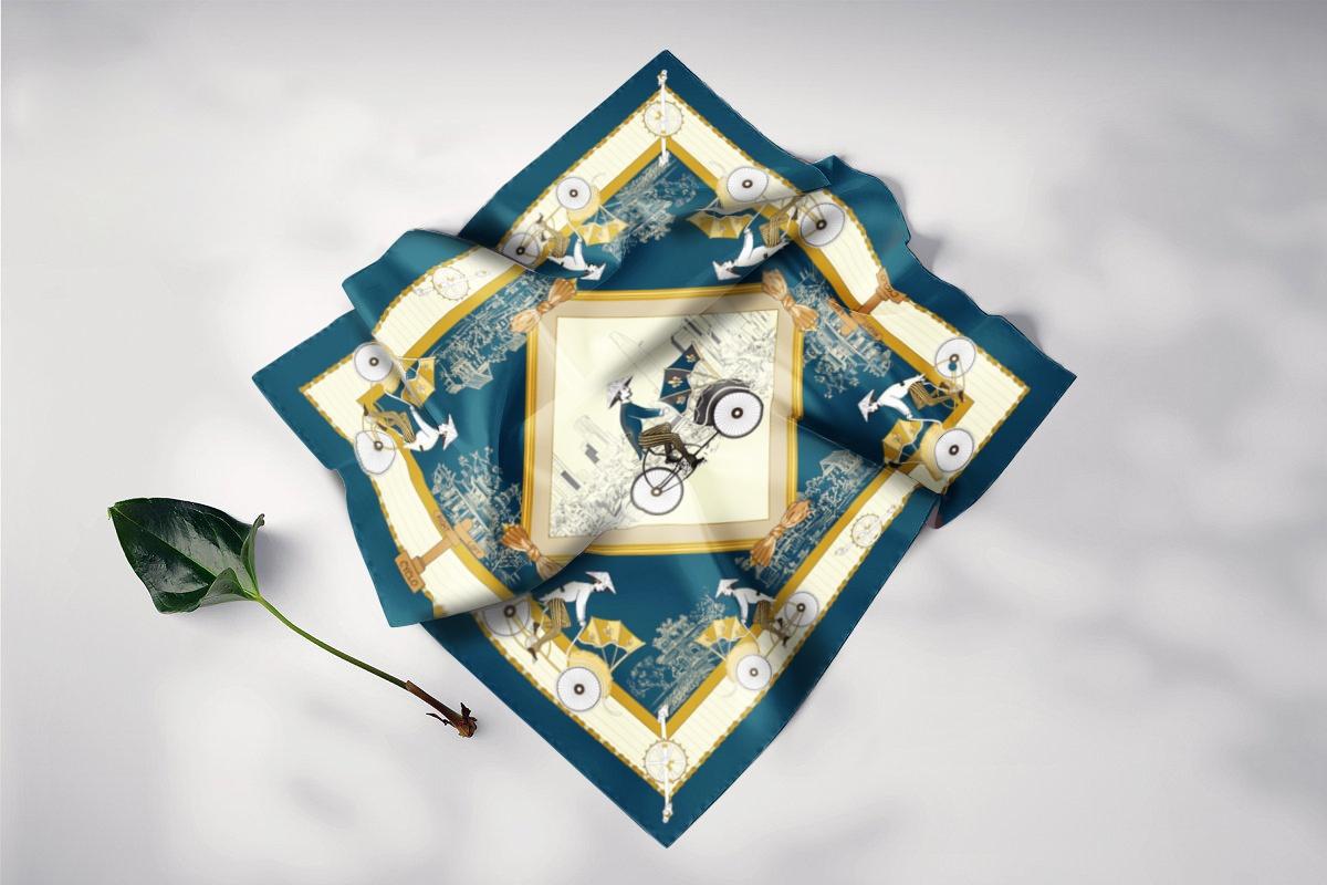 khăn lụa vuông cyclo xanh