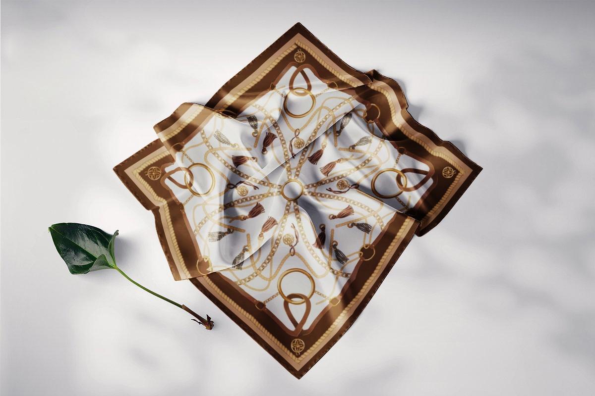 khăn lụa vuông nghệ thuật đương đại trắng