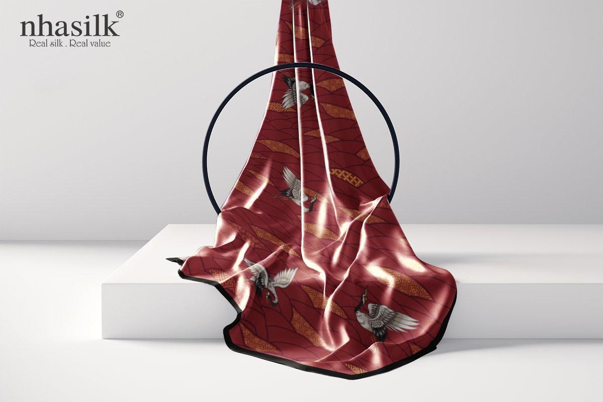 khăn lụa dài hồng hạc trường thọ