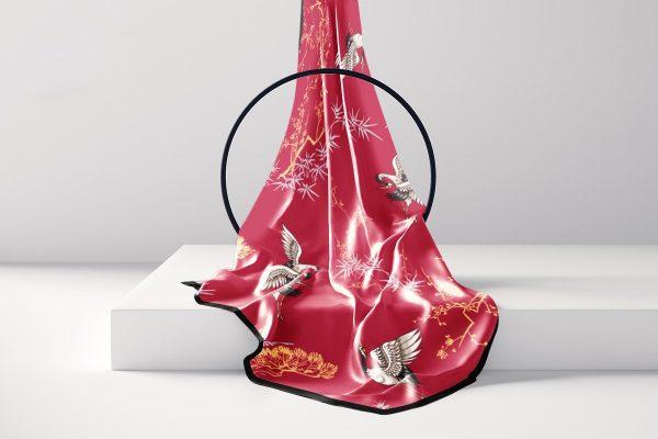 khăn lụa dài họa tiết hồng hạc trúc