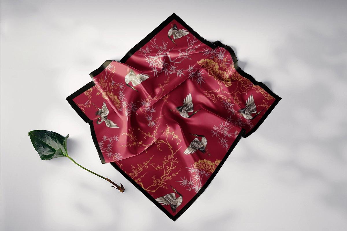 khăn choàng lụa vuông hồng hạc trúc