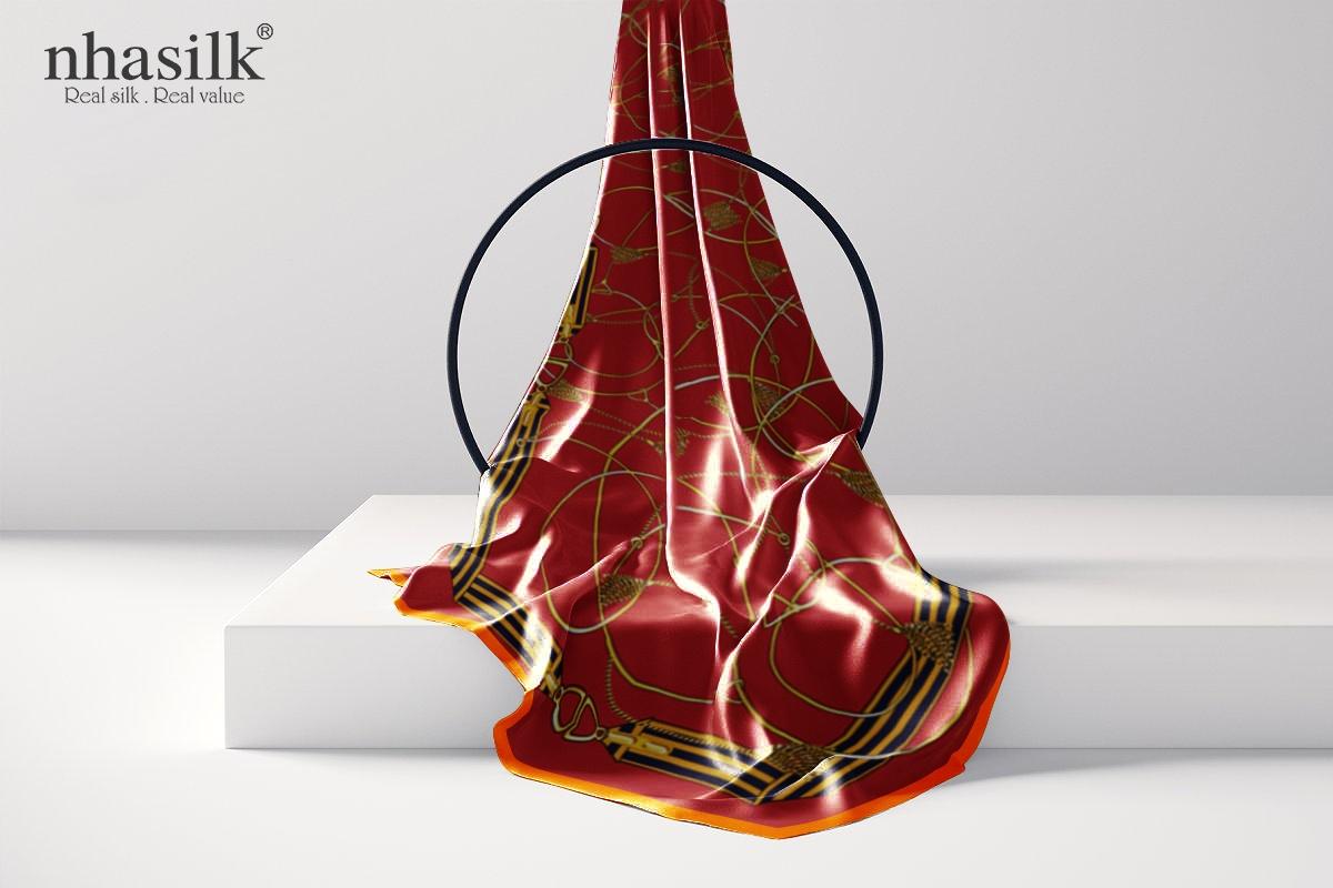 khăn lụa dài nghệ thuật đương đại đỏ