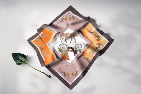 khăn lụa vuông nghệ thuật phục hưng hồng cam