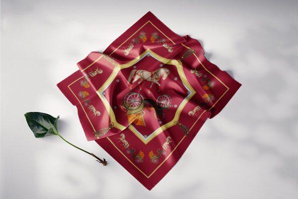 khăn lụa vuông nghệ thuật phục hưng đỏ