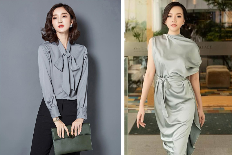 Áo, váy lụa thời trang hiện đại, sang trọng dành cho các quý cô