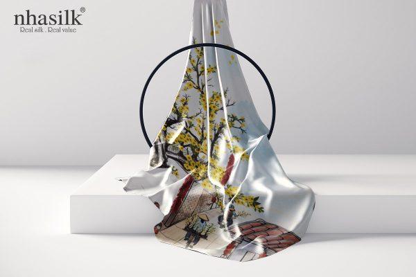 khăn lụa dài hoa mai