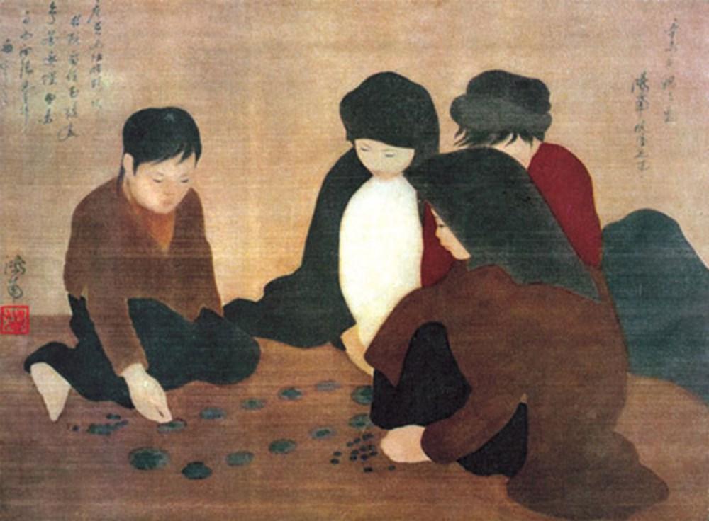 """Tranh lụa """"chơi ô ăn quan"""" của cụ Nguyễn Phan Chánh."""