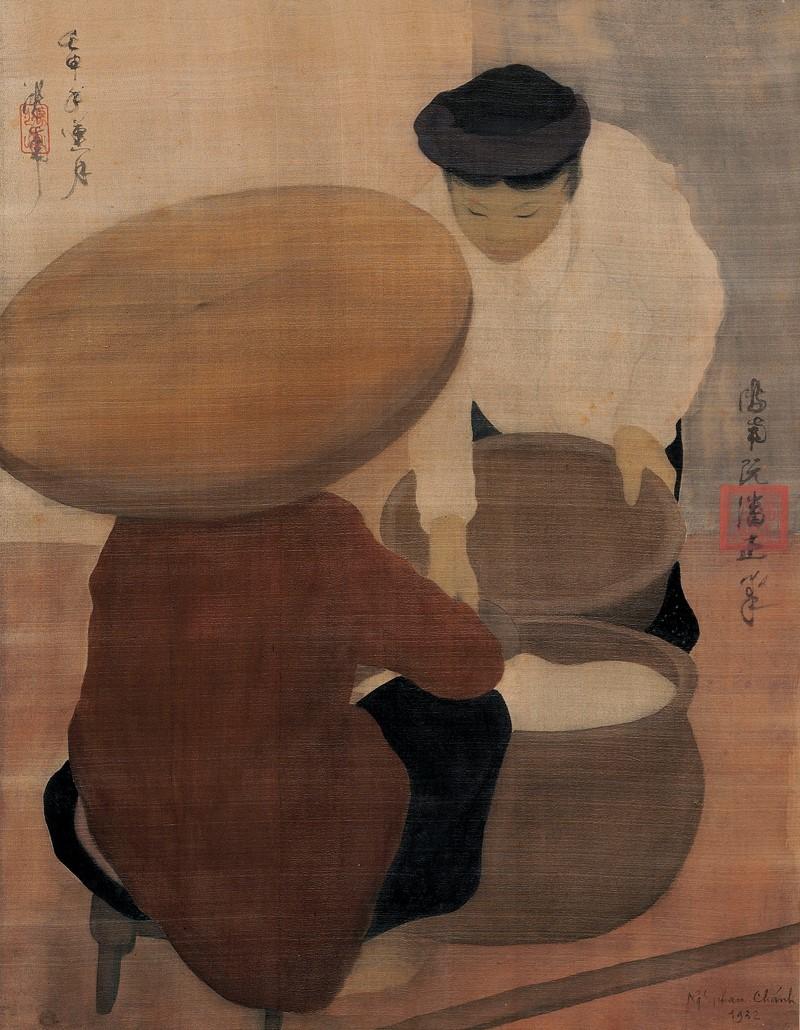 """Tranh lụa """"Người Bán Hàng"""" của cụ Nguyễn Phan Chánh."""