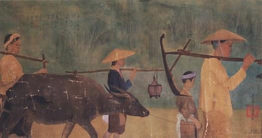 """Tranh lụa """"Ra Đồng"""" của cụ Nguyễn Phan Chánh."""