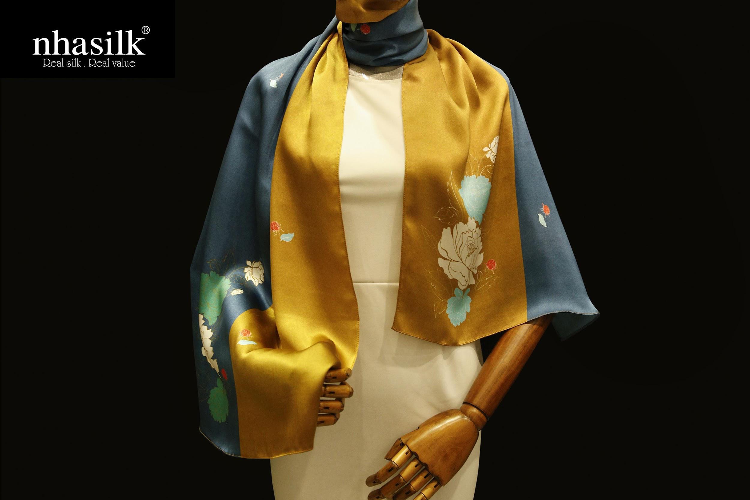các kiểu khăn choàng cổ sang trọng hoa mẫu đơn
