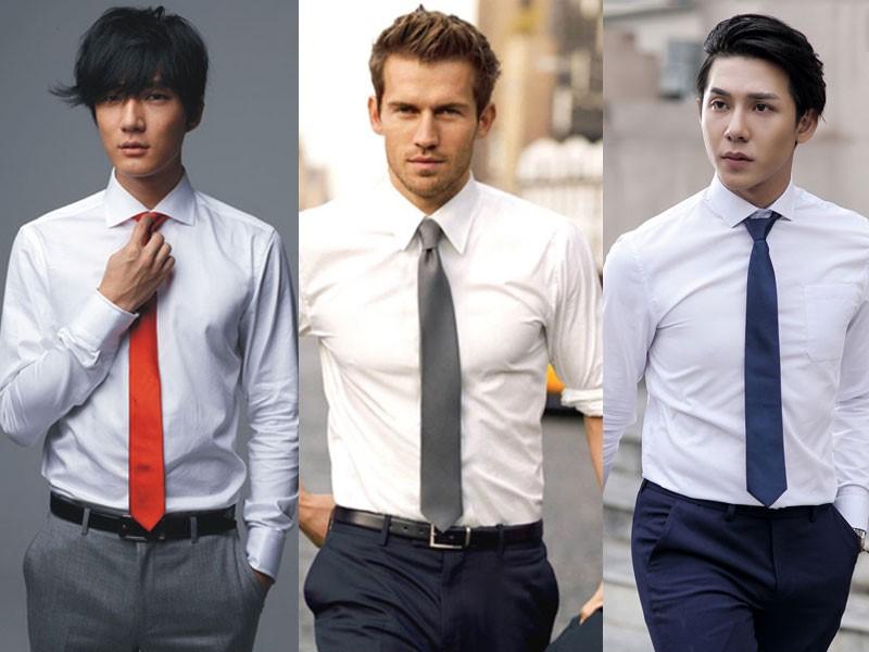 áo trắng kết hợp cùng cà vạt
