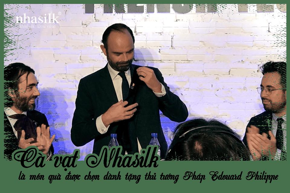 Cà vạt Nhasilk là món quà được chọn dành tặng thủ tướng Pháp Edouard Philippe
