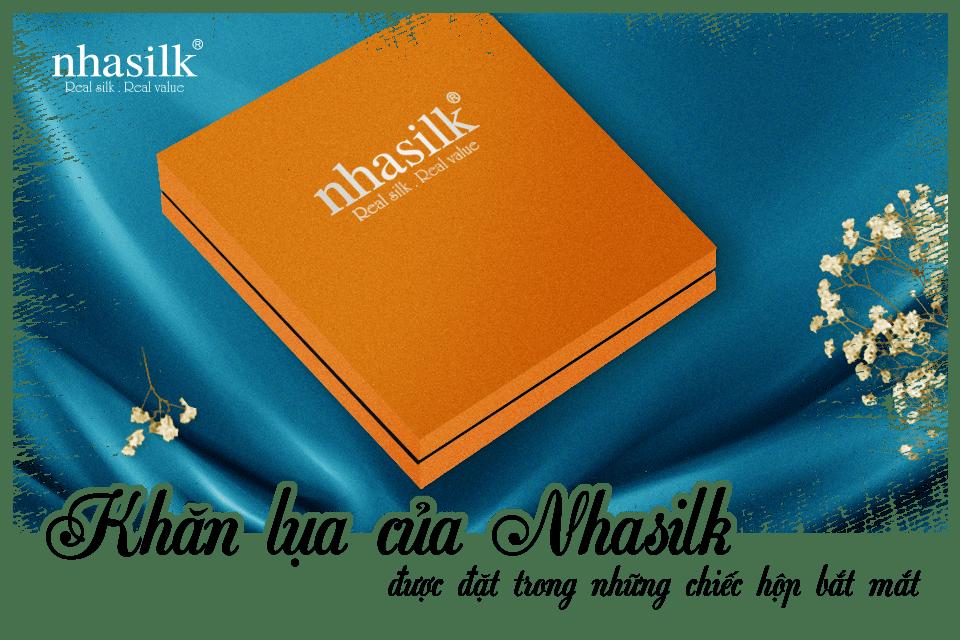 Khăn lụa của Nhasilk được đặt trong những chiếc hộp bắt mắt