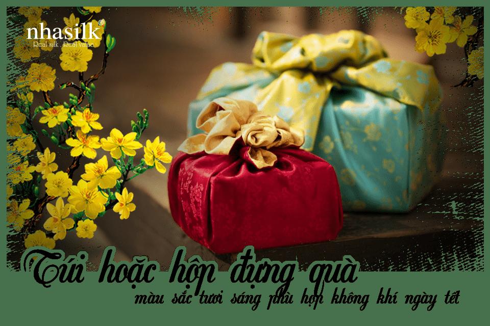 Túi hoặc hộp đựng quà màu sắc tươi sáng phù hợp không khí ngày tết