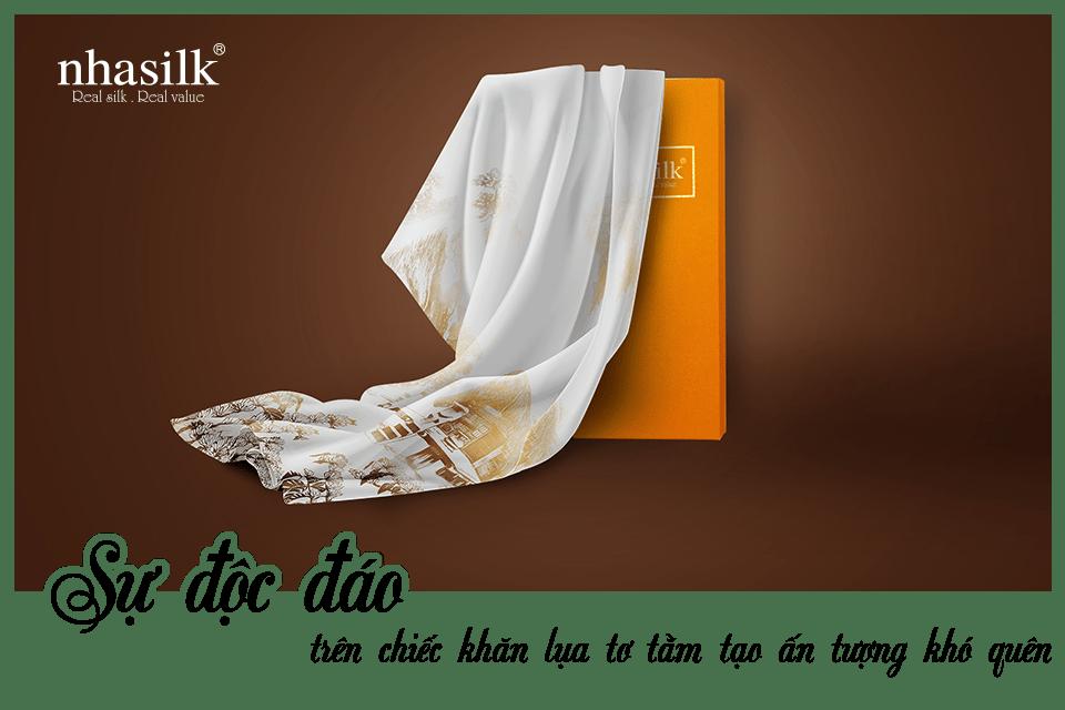 Sự độc đáo trên chiếc khăn lụa tơ tằm tạo ấn tượng khó quên