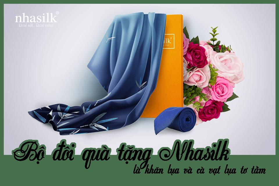 Bộ đôi quà tặng Nhasilk là khăn lụa và cà vạt lụa tơ tằm