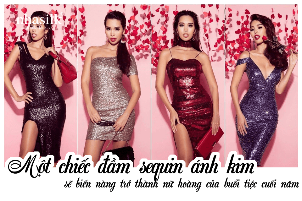 Một chiếc đầm sequin ánh kim sẽ biến nàng trở thành nữ hoàng của buổi tiệc cuối năm