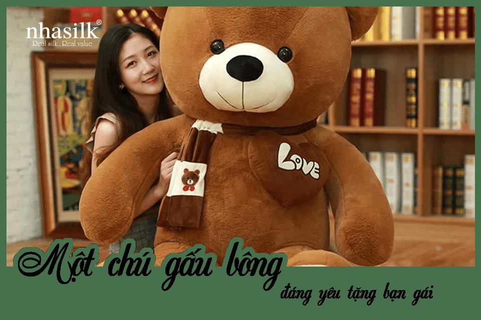 Một chú gấu bông đáng yêu tặng bạn gái