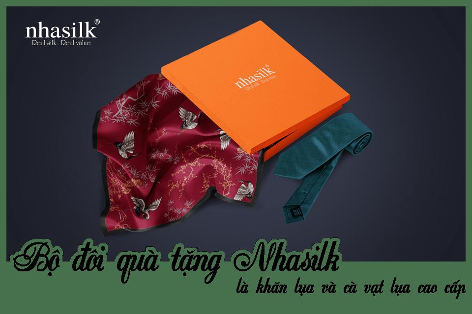 Bộ đôi quà tặng Nhasilk là khăn lụa và cà vạt lụa cao cấp