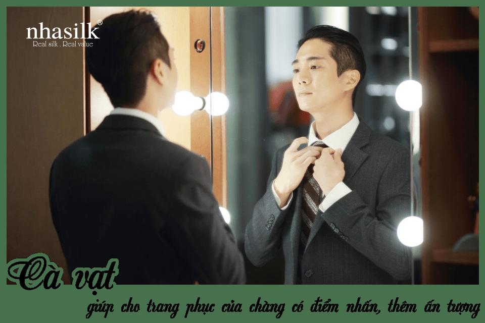 Cà vạt giúp cho trang phục của chàng có điểm nhấn, thêm ấn tượng