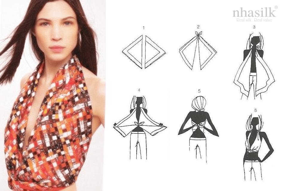 Có ngay kiểu áo xẻ ngực cực hot bằng cách kết hợp 2 chiếc khăn lụa lại với nhau