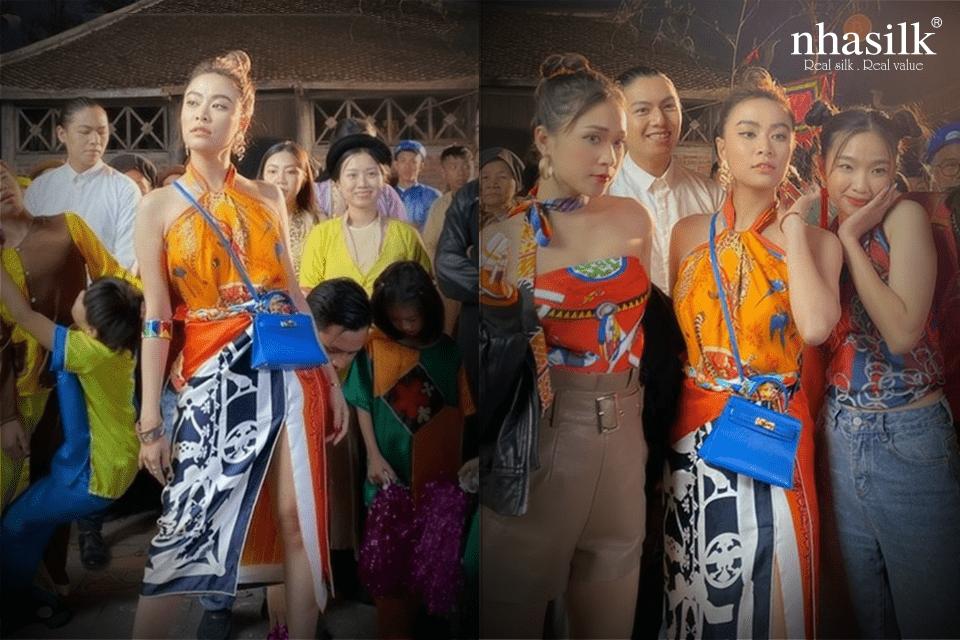 """Trong MV """"Duyên âm"""" ca sĩ Hoàng Thuỳ Linh đã dùng 8 chiếc khăn lụa Hermes để tạo thành set trang phục độc đáo"""