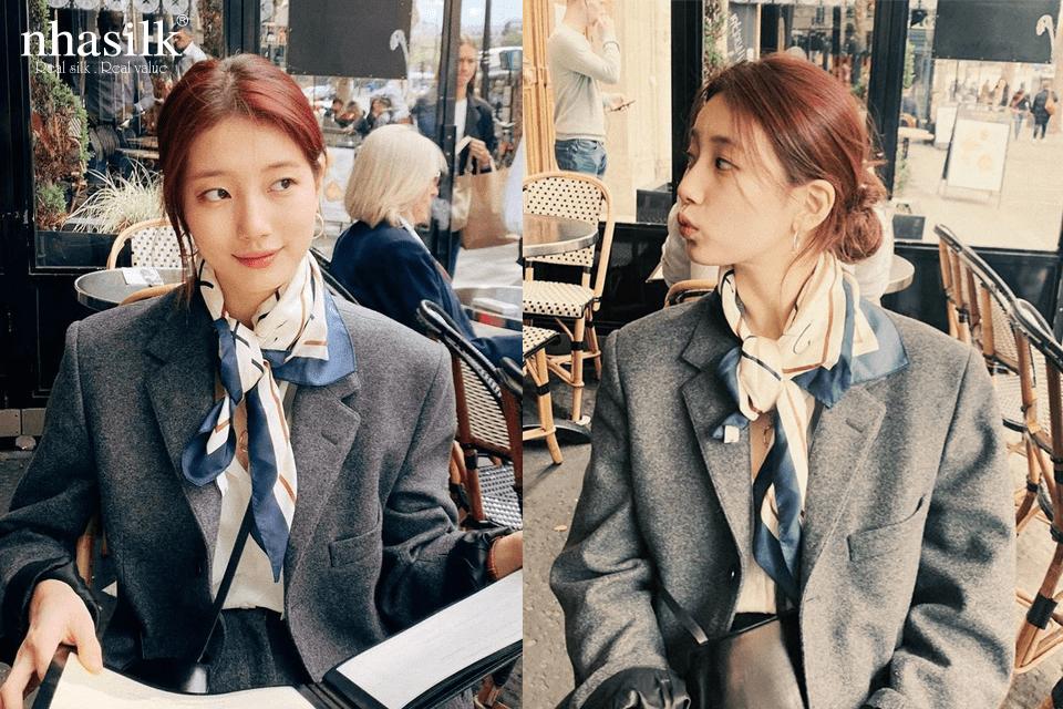 Suzy trông thanh lịch trong áo blazer cùng chiếc khăn lụa vuông quàng cổ