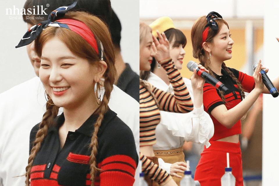 Cô nàng Seul Gi (Red Velvet) là một trong những idol Kpop tích cực lăng xê mốt dùng khăn lụa làm băng đô