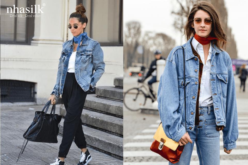 Công thức cá tính bằng khăn lụa và áo jeans 2