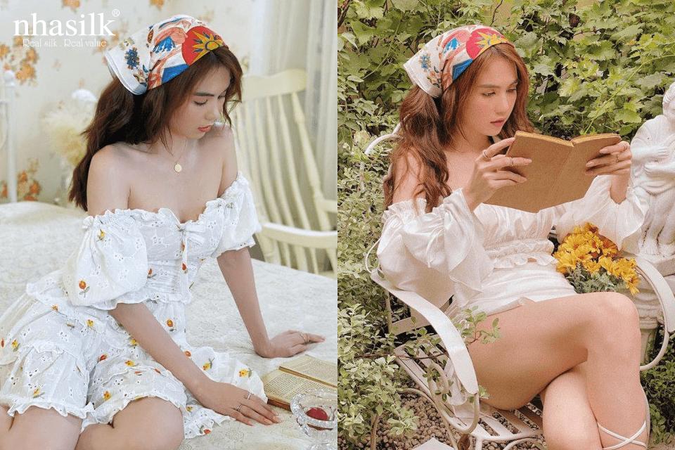 """Ngọc Trình đã biến tấu khăn lụa theo style """"Cô gái Hà Lan"""""""
