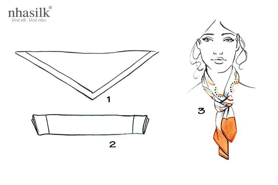 Gấp khăn lụa vuông thành hình tam giác