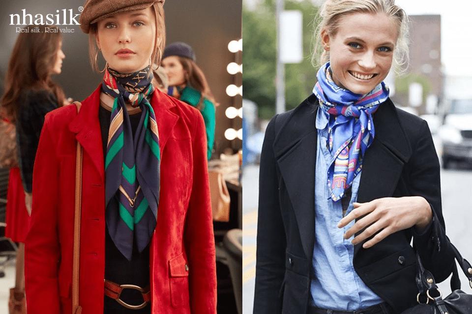 """Có muôn vàn cách thắt khăn khác nhau, tuy nhiên với kiểu thắt nơ hoặc kiểu """"cô bé quàng khăn đỏ"""" phía trước hay thả ra phía sau"""