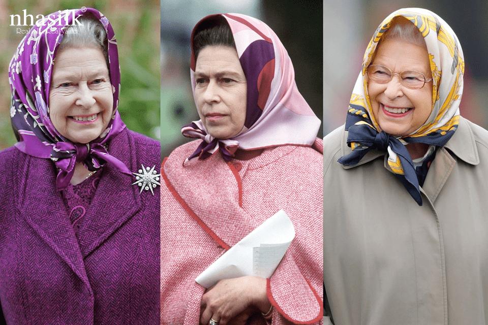 Nữ hoàng anh thích dùng những chiếc khăn lụa vuông thay cho mũ đội đầu. Bà thường xuyên buộc khăn theo style cụ bà đa sắc.