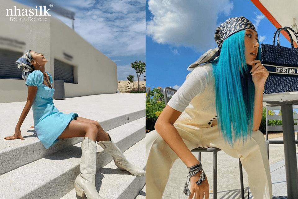 cô nàng fashionista Quỳnh Anh Shyn đã lựa chọn cách buộc khăn lụa có phần phá cách và độc đáo hơn