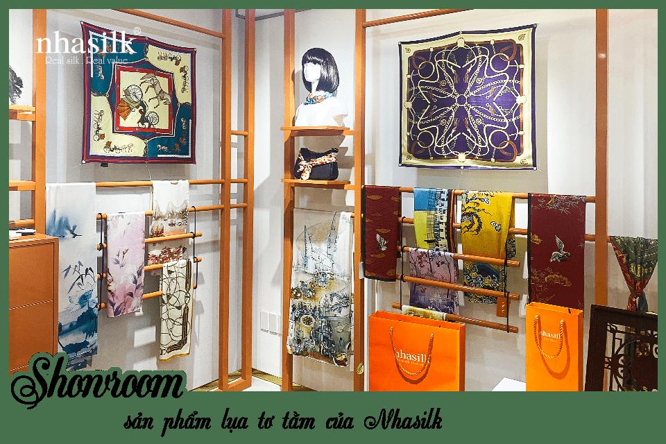 Showroom sản phẩm lụa tơ tằm của Nhasilk